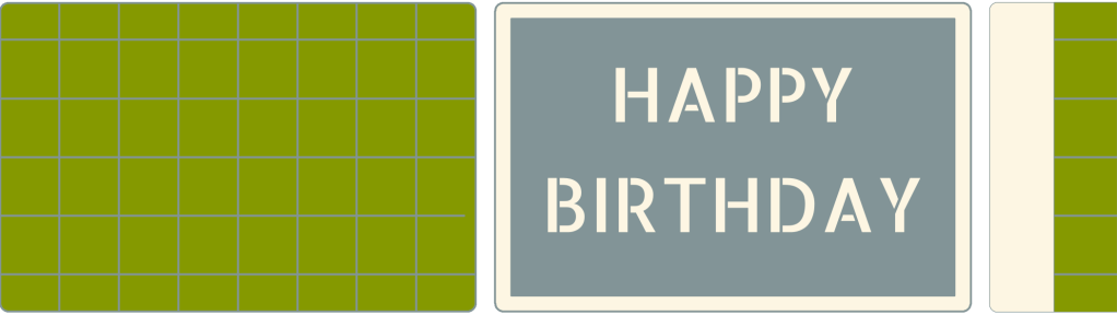 Illustration of Bob's Birthday Cake. Pålægschokolade is stuck into the base in a grid pattern. 'Happy Birthday' is dusted on top of the cake using a stencil.